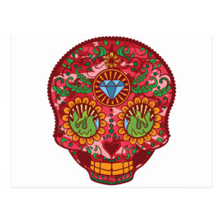 Pink Camo Mexican Day Of The Dead Sugar Skull Postcard