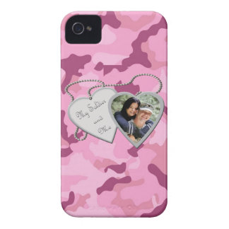 Pink Camo My Soldier & Me Hearts Custom Photo Blac iPhone 4 Case