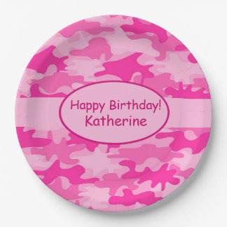 Pink Camo Name Personalised Happy Birthday Party 9 Inch Paper Plate