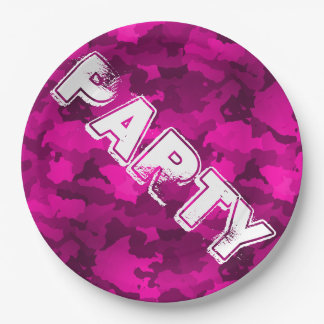 Pink Camo Paper Plate