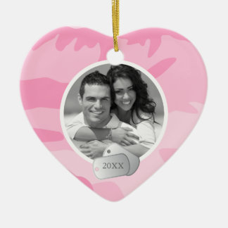 Pink Camo Pattern and Dog Tags Photo Ceramic Heart Decoration