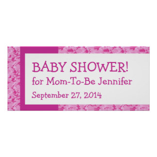 Pink Camo Pattern Baby Shower Banner Custom Name 1 Poster
