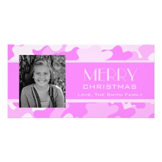 Pink Camo Personalized Photo Card