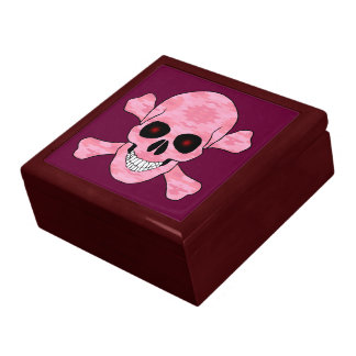 Pink Camo Red Eyes Skull And Crossbones Gift Box