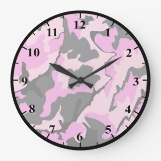 Pink Camo Round Large Wall Clock
