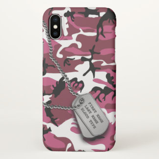 Pink Camo w/ Dog Tags iPhone X Case