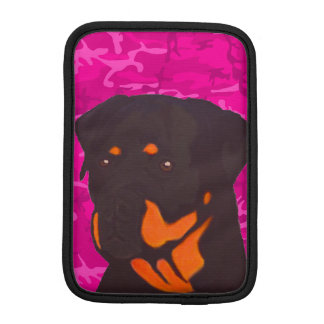 Pink Camo with Rottweiler iPad Mini Sleeve