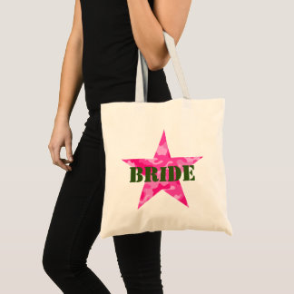 Pink Camouflage Bachelorette Bride Tote Bag