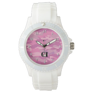 Pink Camouflage color wrist watch for teen girls