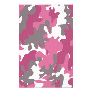 pink camouflage for the strong military woman stationery