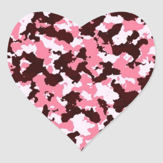 Pink Camouflage Heart Sticker