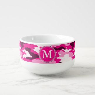 Pink Camouflage Pattern Initial Monogram Soup Mug