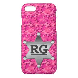 Pink Camouflage Pattern Sheriff Badge Monogram iPhone 7 Case