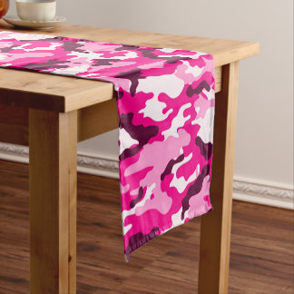 Pink Camouflage Pattern Short Table Runner
