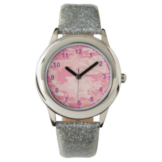 pink camouflage Purple Numbers Watch