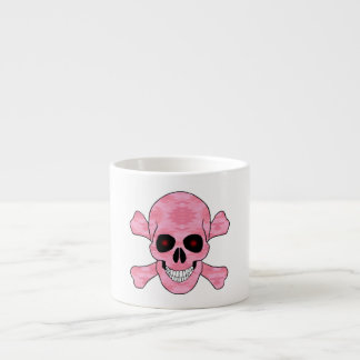 Pink Camouflage Red Eyes Skull And Crossbones Mug Espresso Cup
