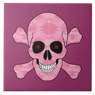 Pink Camouflage Red Eyes Skull And Crossbones Tile