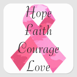 Pink Camouflage Ribbon Faith Stickers