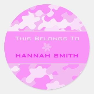 Pink Camouflage Round Sticker