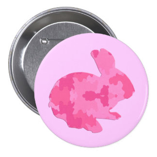 Pink Camouflage Silhouette Easter Bunny Button