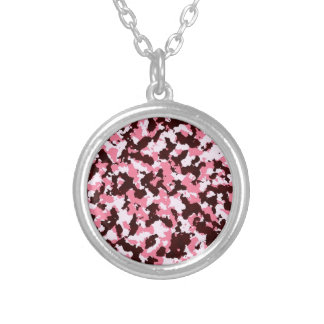 Pink Camouflage Silver Plated Necklace