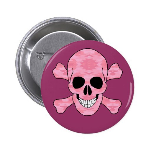 Pink Camouflage Skull And Crossbones Button