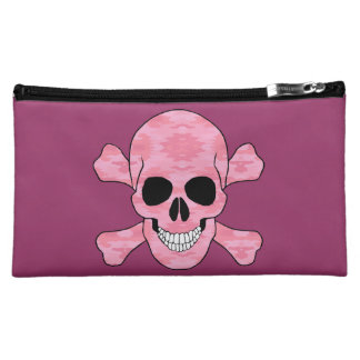 Pink Camouflage Skull And Crossbones Cosmetic Bag