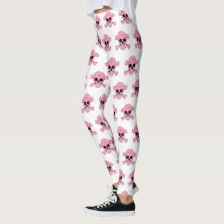 Pink Camouflage Skull And Crossbones Leggings