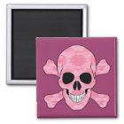 Pink Camouflage Skull And Crossbones Magnet