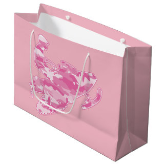 Pink Camouflage Snowmobiler Large Gift Bag