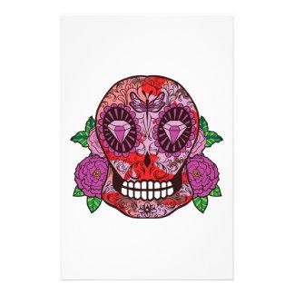 Pink Camouflage Sugar Skull Diamond Eyes Roses Stationery Design