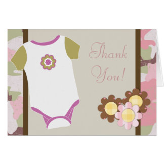 Pink Camouflauge Baby Shower Thank You Cards