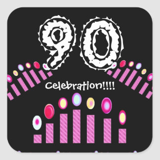 Pink Candles 90th Birthday Celebration!!! Square Sticker