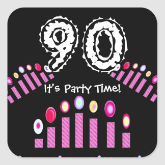 Pink Candles 90th Birthday It's Party Time Square Sticker
