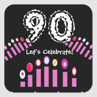 Pink Candles 90th Birthday Let's Celebrate Square Sticker