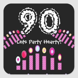 Pink Candles 90th Birthday Let's Party Hearty! Square Sticker