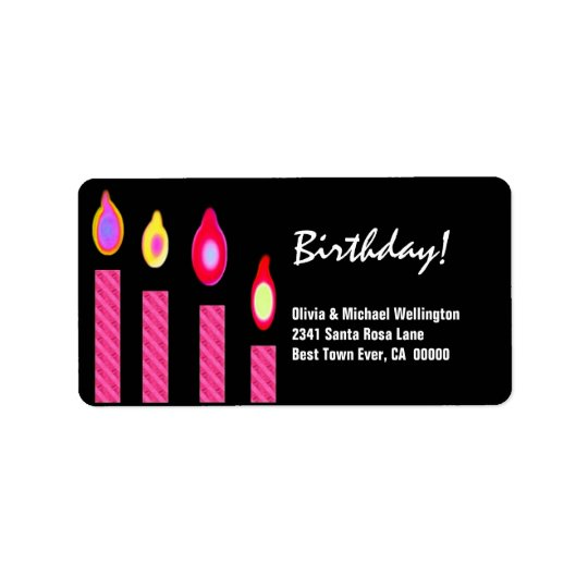 Pink Candles Birthday Address Label