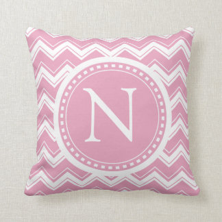 Pink Candy Chevron Girly ZigZag Monogram Cushion