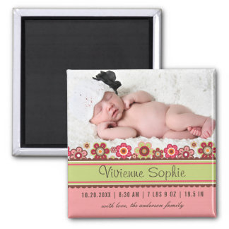 Pink Candy Daisies Photo Birth Announcement Magnet