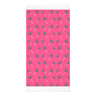 pink candy pattern custom photo card