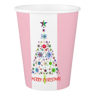 Pink Candy Stripe Christmas |Holiday Greeting Paper Cup