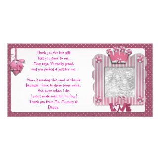 Pink candystripe frame Thank You Card from baby Personalised Photo Card