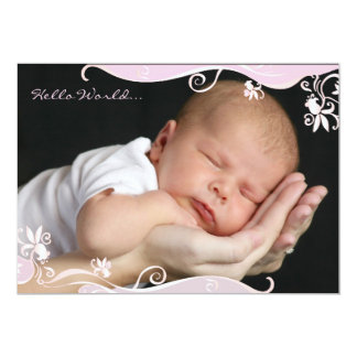 Pink Caress Photo Birth Announcement