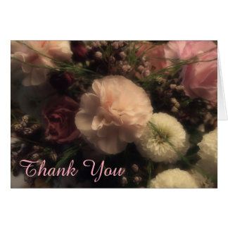 Pink Carnation Floral Thank You Card
