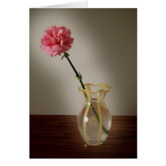 Pink Carnation in Glass Vase Card
