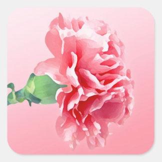 Pink carnation square sticker