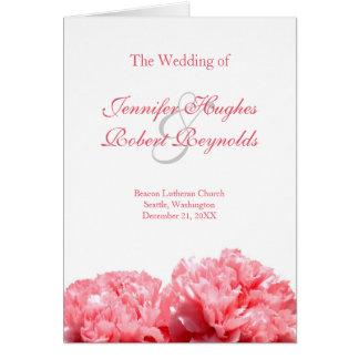 Pink Carnation Wedding Program Greeting Card