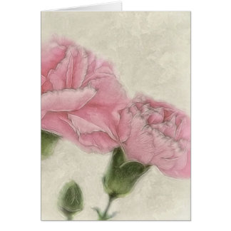 Pink Carnations 3 Color with Sepia Card
