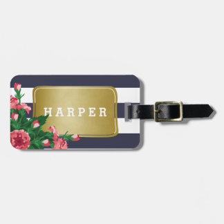 Pink Carnations & Blue Stripes Custom Name Luggage Tag