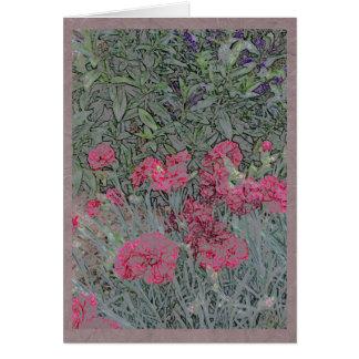Pink carnations in a summer garden card